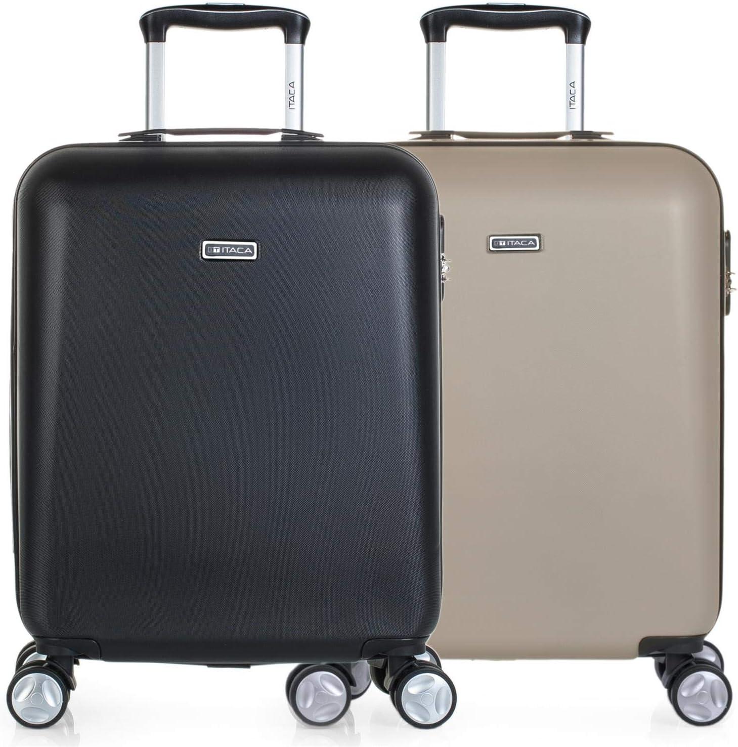ITACA - Pack 2 Maletas de Viaje Rígidas 4 Ruedas 55x40x20 cm Cabina Trolley ABS. Equipaje de Mano. Resistentes y Ligeras. Mango Asa Candado. Low Cost Ryanair. T58050P, Color Negro/Champagne