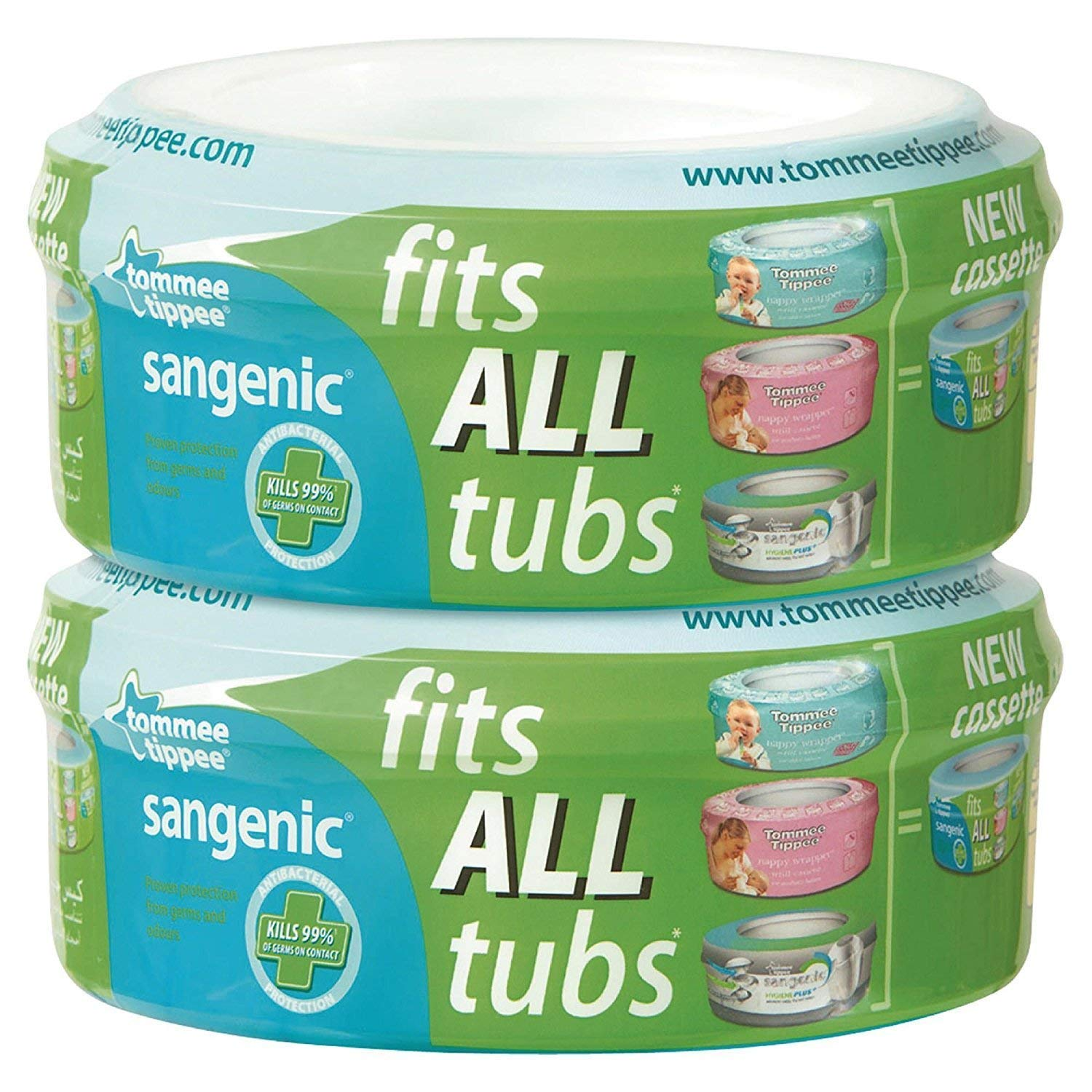 Tommee Tippee–Rolls of Bags Universal for Sangenic Nappy Wrapper, 2Pieces Jackel International