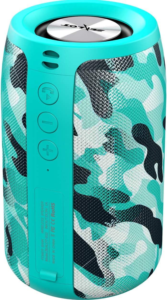 Altavoz Bluetooth Portátil,Altavoces Bluetooth Portatiles ZEALOT S32 Mini Altavoz,Impermeable,24 Horas Reproducción, TWS Sonido Estéreo,Apoya Tarjeta tf(Micro SD),Pendrive,Inalámbrico(camuflaje verde)