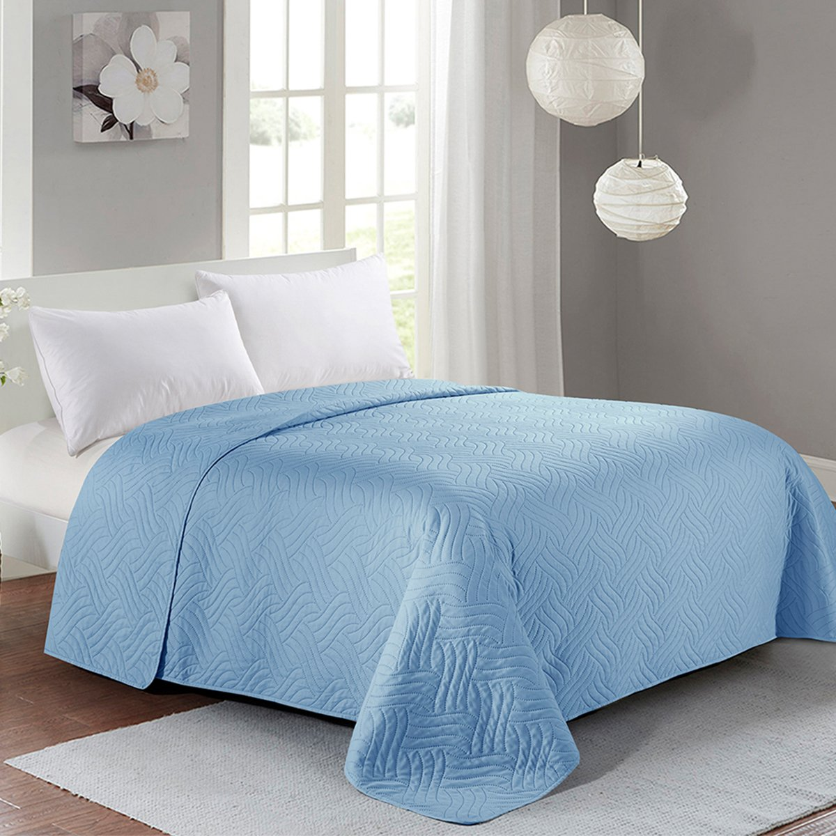 HollyHOME Luxury Super Soft Solid Single Pinsonic Quilted Bed Quilt Bedspread Bed Cover, Spa Blue, Full/Queen