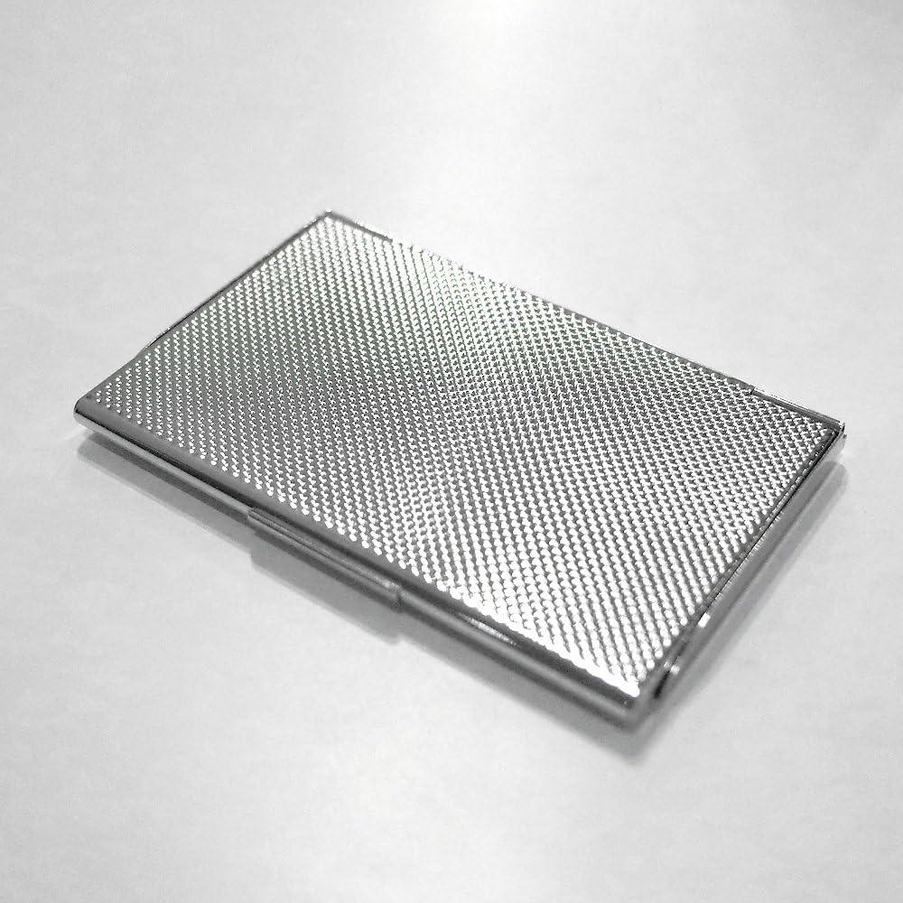 f/ür ca.11 Karten gl/änzend schwarz//wei/ß verchromt Metall flach Troika Visitenkartenetui Motiv: Geometric Waves