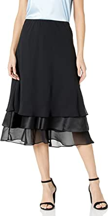 Alex Evenings Women's T-Length Chiffon Triple Tier Skirt, Black, XL