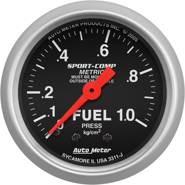 Auto Meter 3311-J Sport-Comp Mechanical Metric Fuel Pressure Gauge