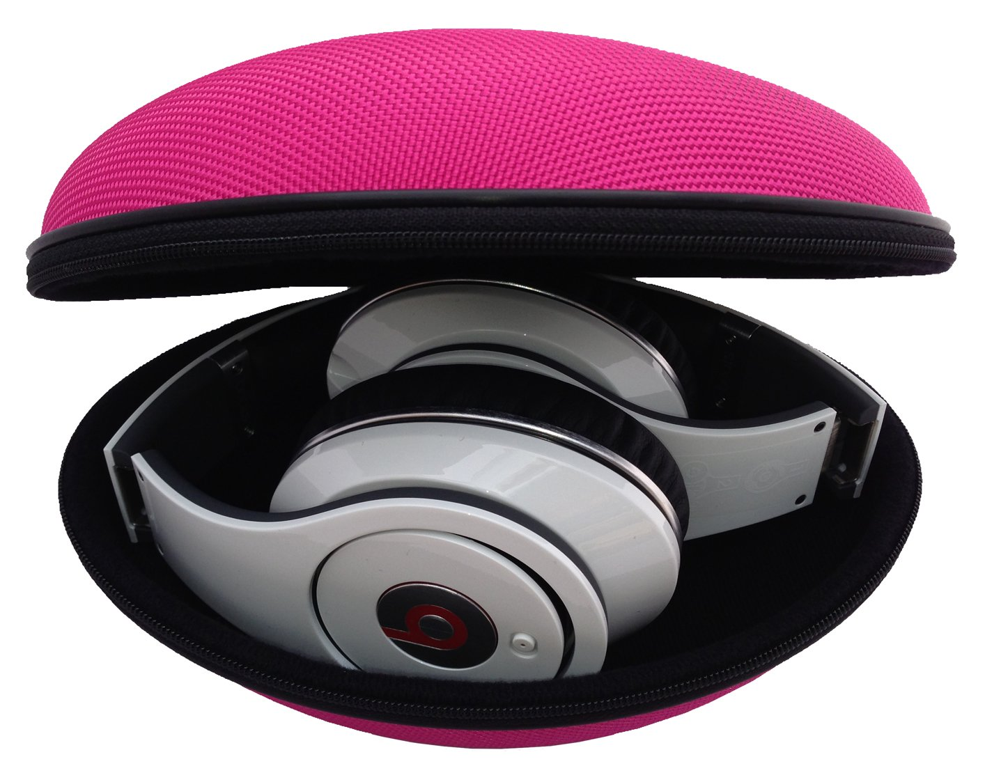 bd4c4f7d381 Amazon.com: CASEBUDi Oval Hard Shell Headphone Carrying Case | Travel Pouch  Protection for Beats & Other Foldable Headphones | Pink Ballistic Nylon:  Home ...