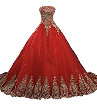 Lejy Womens Lace Gold Applique Ball Gown Wedding Dress Puffy