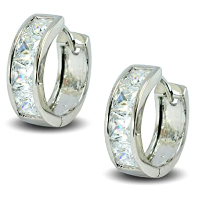 e2943c819d8f Blue Diamond Club - 9ct White Gold Filled Hoop Earrings with White CZ  Crystals Womens  Amazon.co.uk  Jewellery