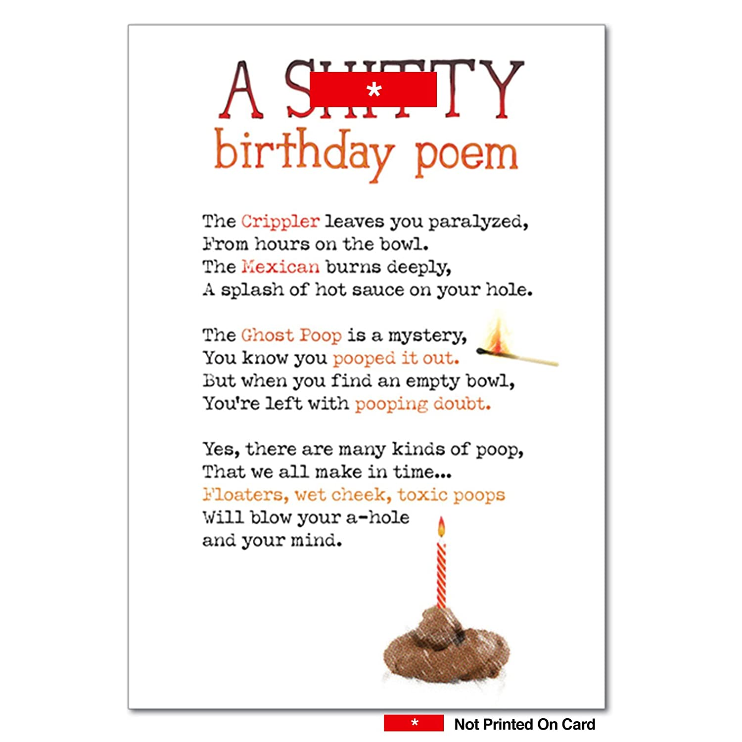 Shitty Poem Birthday Humor Card Amazoncouk Office Products