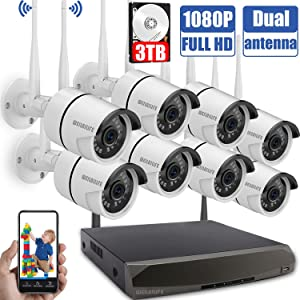 Wireless Security Camera System,1080P Outdoor Home WiFi Security Surveillance Camera System, 8Pcs 2.0 Megapixel 1080P Wireless IP Camera with 3TB Hard Drive, Night Vision, Remote View