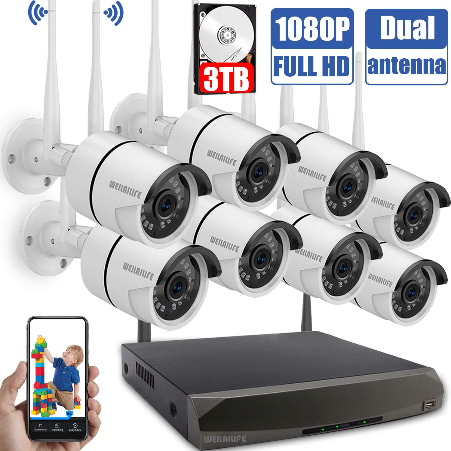 Wireless Security Camera System,1080P Outdoor Home WiFi Security Surveillance Camera System, 8Pcs 2.0 Megapixel 1080P Wireless IP Camera with 3TB Hard Drive, Night Vision, Remote View by WEILAILIFE