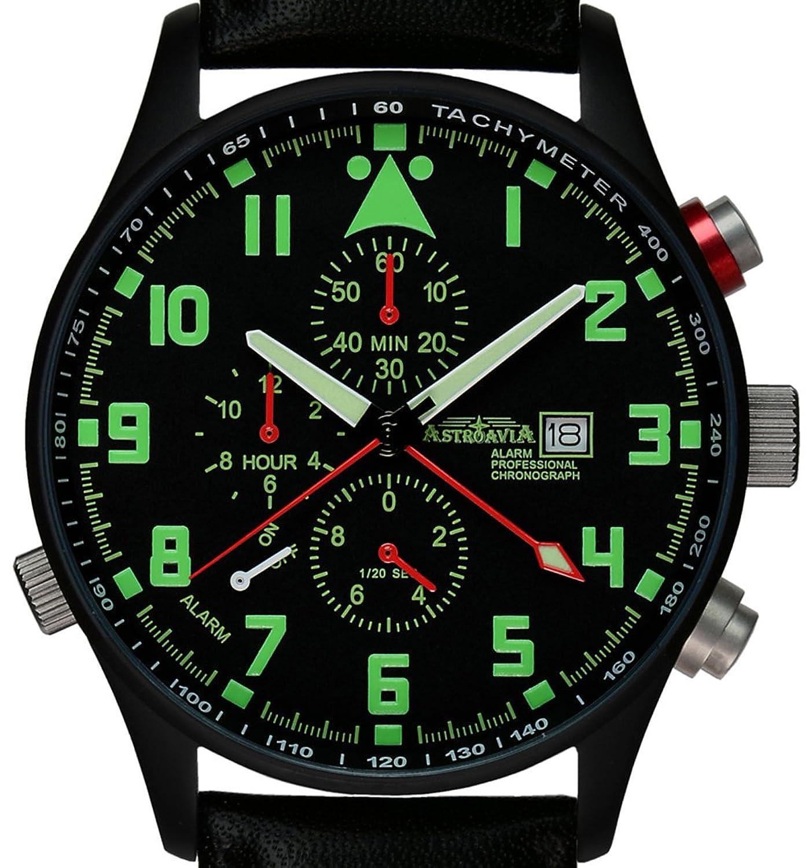 Astroavia Herren-Armbanduhr Alarm Chronograph Quarz Leder P4BL