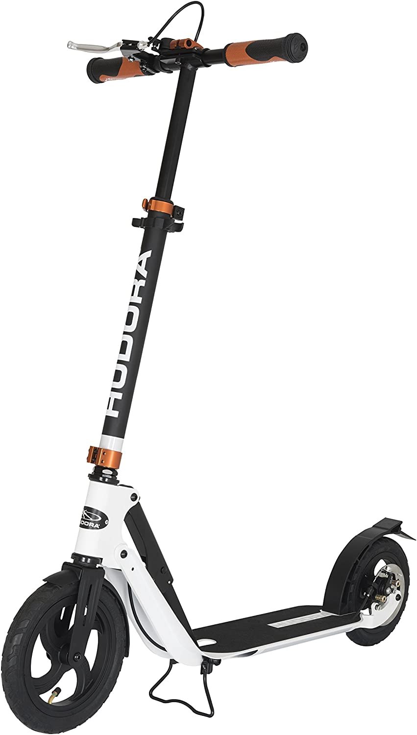 Hudora City Scooter Big Wheel Air Dual Brake Pneumatic Tyres Hand Brake Pedal Scooter Roller