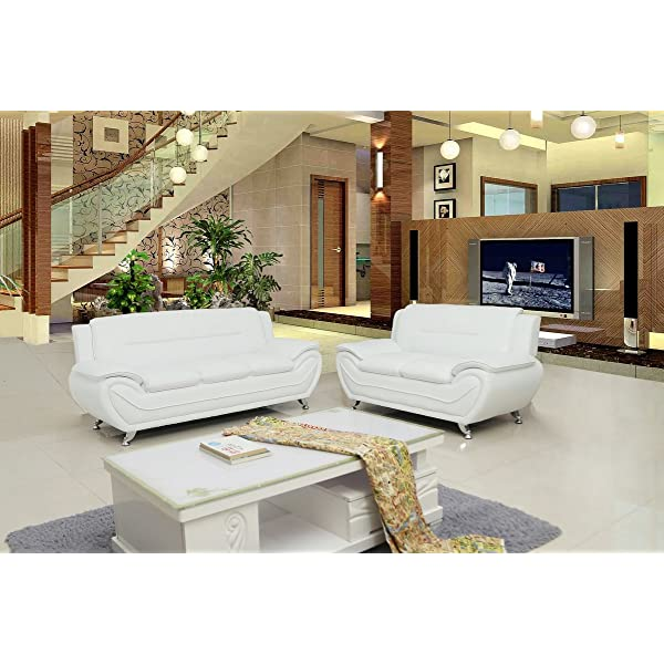 Container Furniture Direct S5399-L Michael Loveseat, Cream White