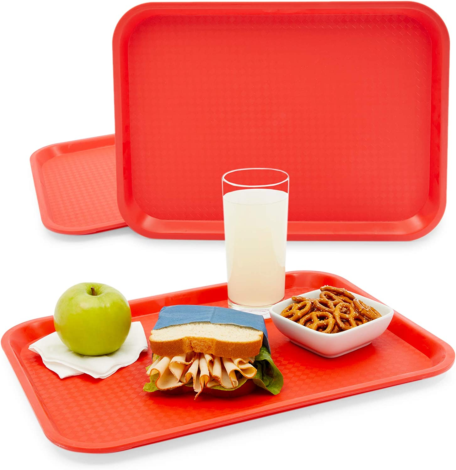 Red Plastic Serving Trays, Cafeteria Food Server (16 x 12 In, 2 Pack)