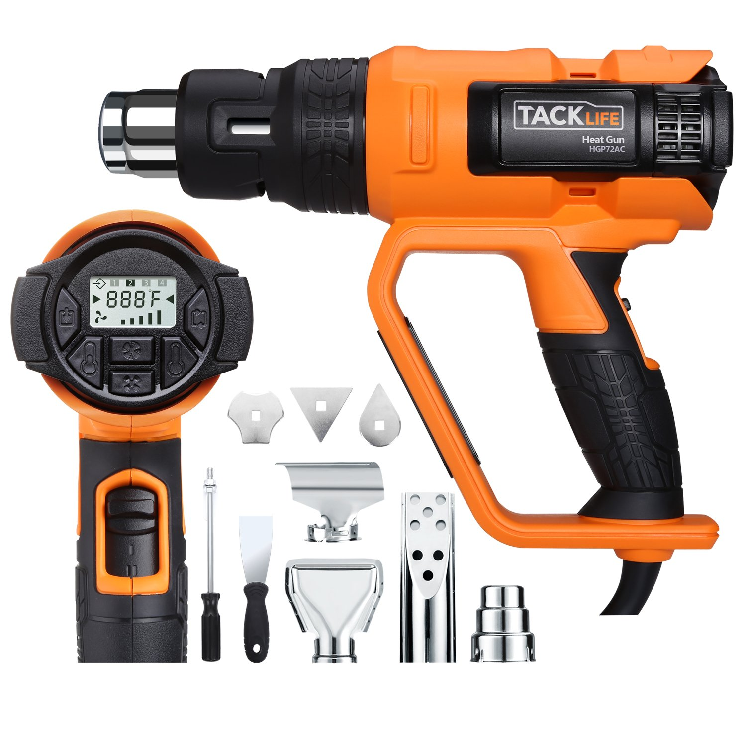 Tacklife HGP72AC 1700W Heavy Duty Heat Gun HT 1202℉ with Large LCD Display, Variable Temperature Adjustable Wind Speed and Memory Settings and Four Nozzles