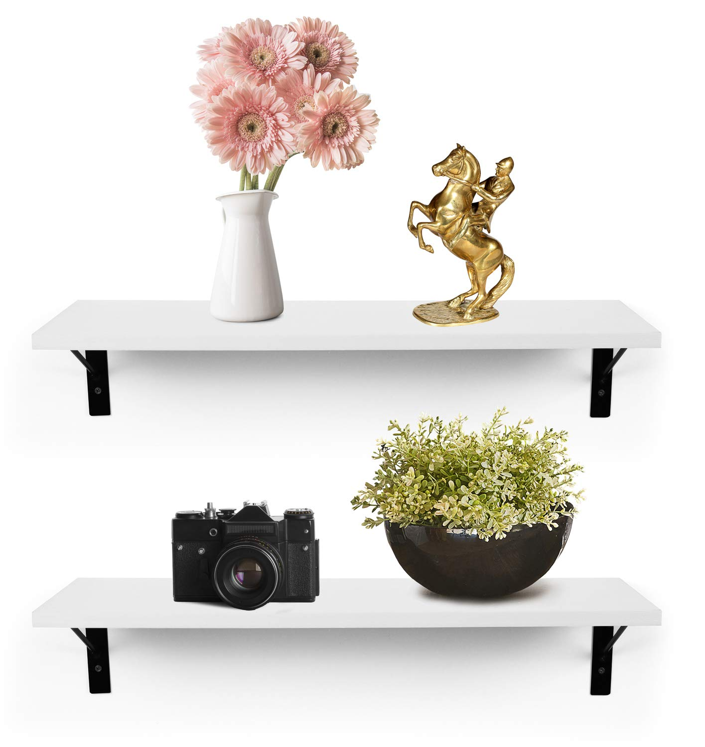 Greenco Wall Mounted Floating Shelves 2 Count Modern Decor White-Set of 2 Display Ledge