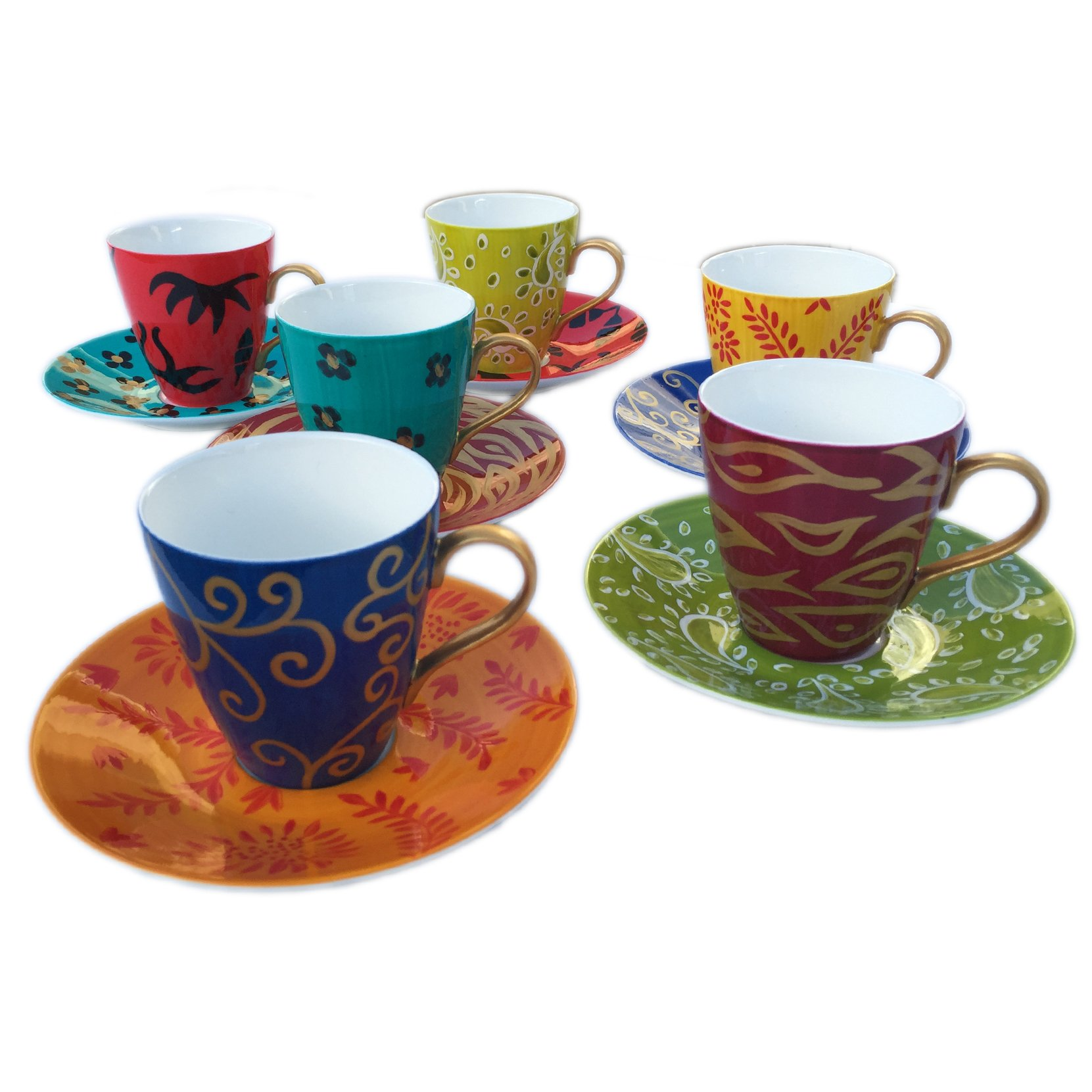Caroline Hely Hutchinson for CHH Design Set Of Tea Or Coffee Cups And Saucers Painted In 'Carnival' Design by Caroline Hely Hutchinson for CHH Design