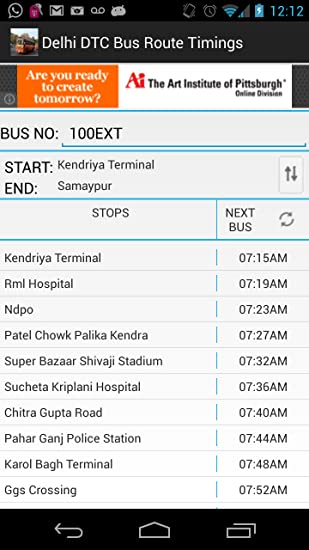 Amazon com: Delhi DTC Bus Timings & Routes: Appstore for Android