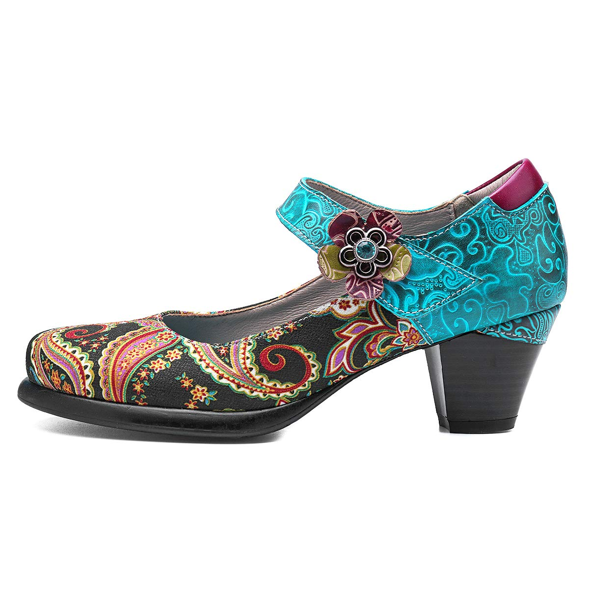 gracosy Botines para Mujer Tacones de Cuero Primavera y Oto/ño Zapatos de Cuero Boho para Mujer 2019 Caf/é Azul Antideslizante Zapatos Oxford