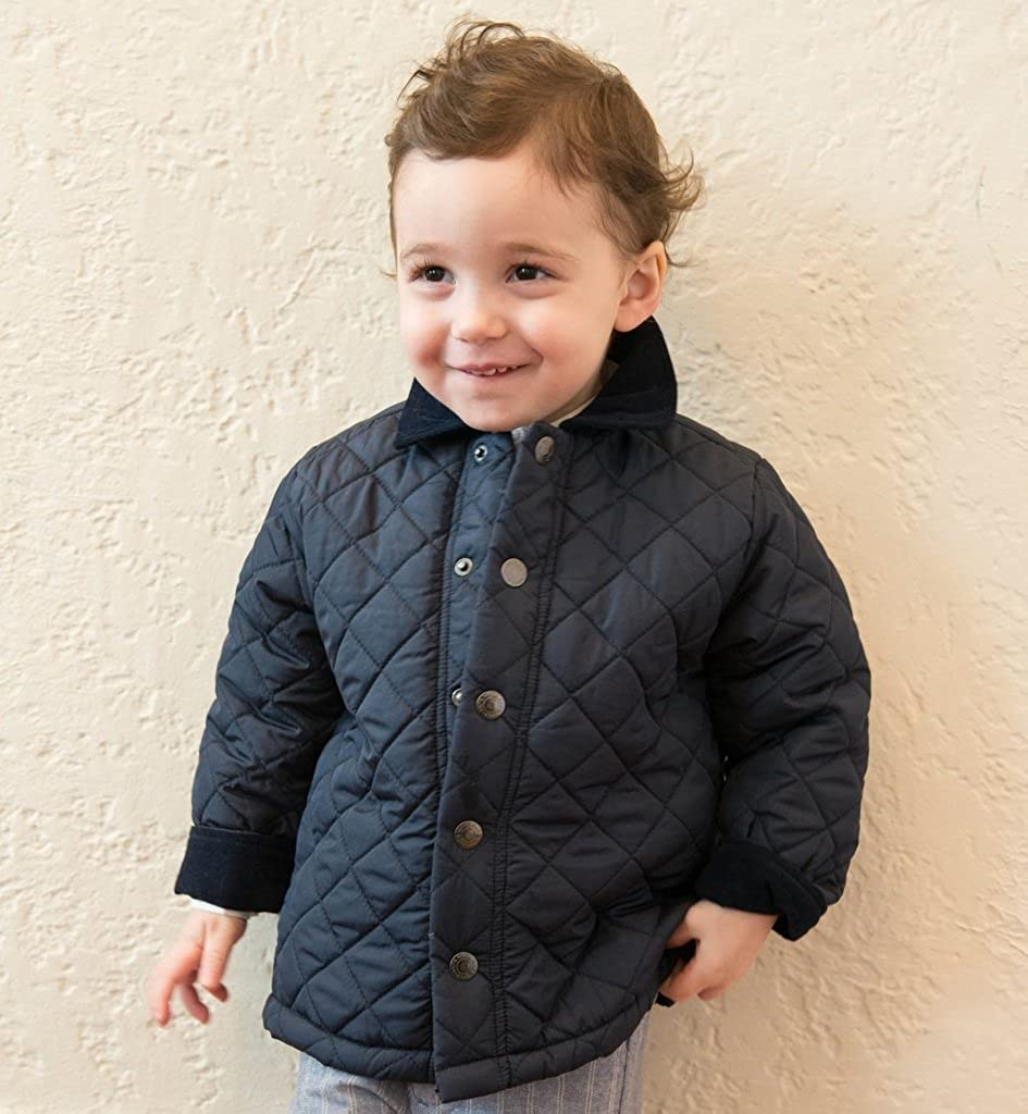 Boutique Collection Baby Quilted Jacket w//Corduroy Collar /& Folded Sleeve