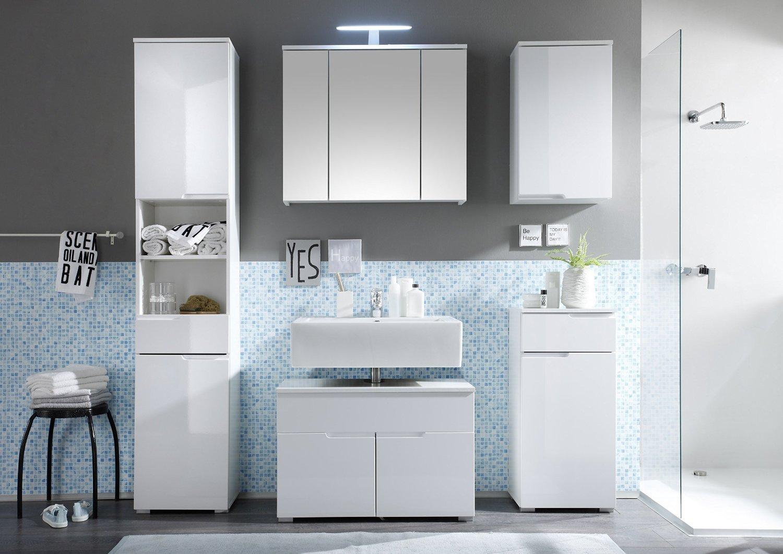 Badezimmermöbel set weiß hochglanz  Badmöbel Set SPICE 5-tlg Bad Badschrank Badezimmer in Hochglanz ...
