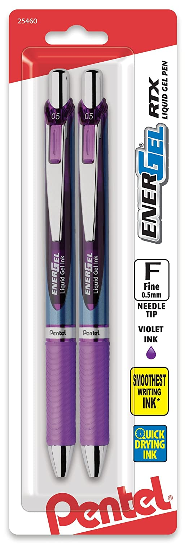 Pentel EnerGel RTX Retractable Liquid Gel Pen, 0.5mm, Needle Tip, Assorted Ink, Pack of 5 (BLN75BP5M) Cell Distributors