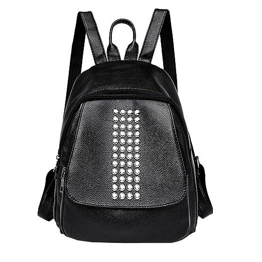 555a3bac525f0 HET Frauen Nieten Leder Rucksack Laptoptasche Reise Schule Rucksack Tasche  neue Art und Weise einfache koreanische