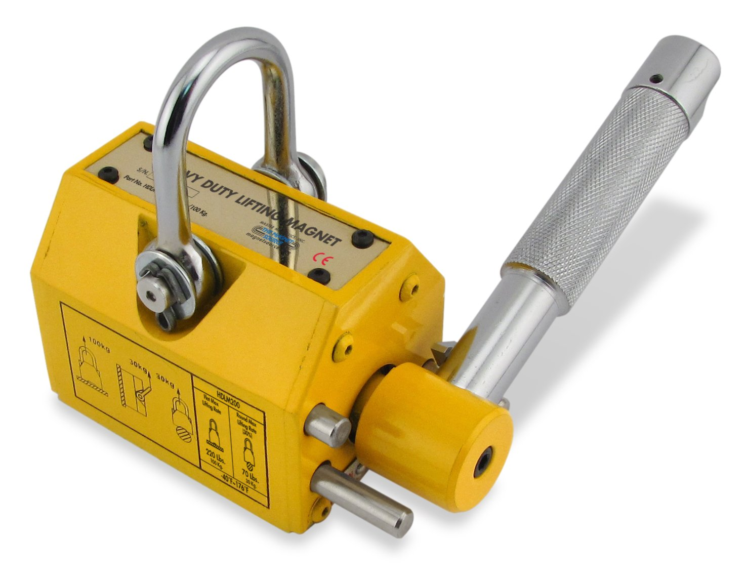 Master Magnetics HDLM220 Industrial Lifting Magnet with Release , 220 Pound/100 KG Capacity, Magnet's Base is 3.625'' Length, 2.50'' Width, 4.50'' Overall Height (Box of X) .