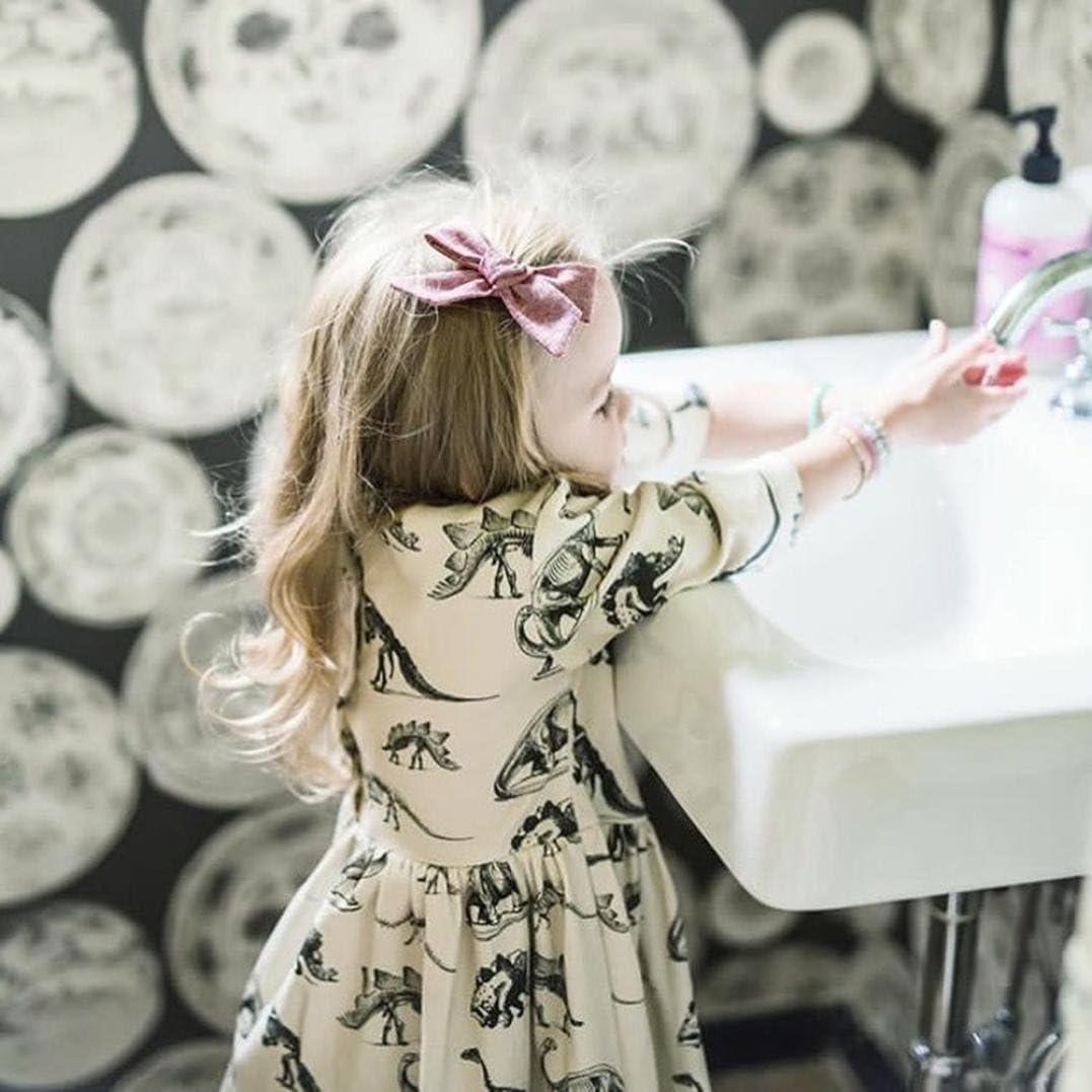 Mandy Baby Girl Dress Mandystore Toddler Kids Girl Cute Button Cartoon Half Sleeve Dinosaur Print Sun Dresses