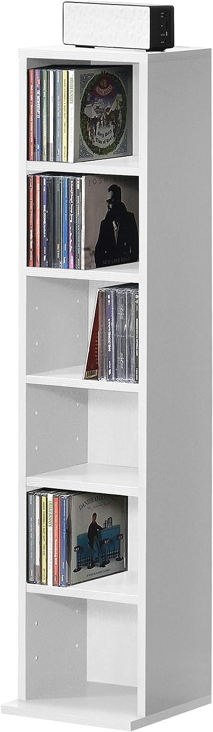 [en.casa] Estante para CDs Soporte para DVDs 90 x 20 x 20 cm Librería con 6 compartimientos Blanco