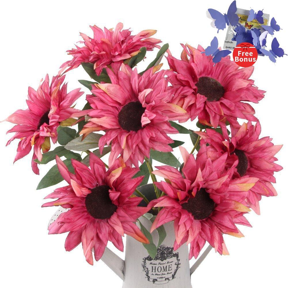 Amazon.com: Artificial Flowers,AmyHomie Sunflowers Bouquet For Home ...