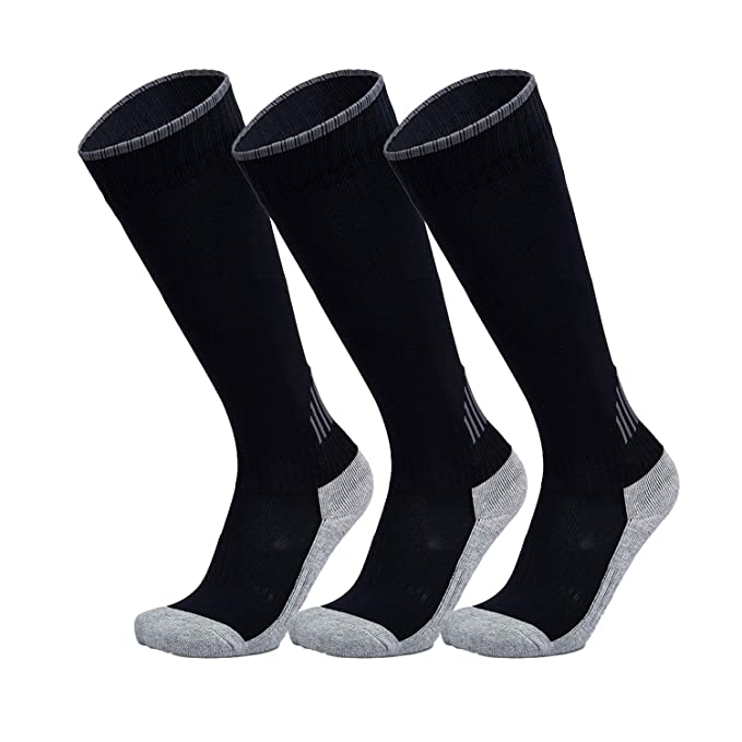 e720a4f37be Black Soccer Socks for Kids Girls Boys Long Tube Soccer Ball Socks 3 Pack