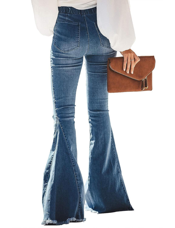 luvamia Womens Ripped Flare Bell Bottom Jeans Pants Retro Wide Leg Denim Pants