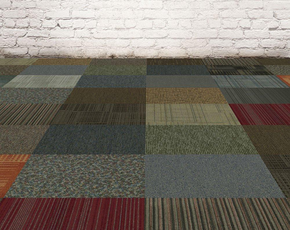 Assorted Carpet Tile 24''x 24'' 48sqft; 12 per box, Peel and Stick