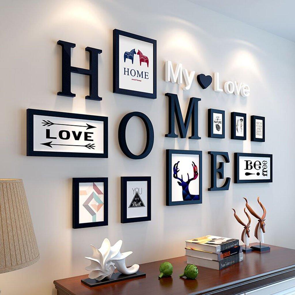 Cornice decorativa 9 PCS / Set Set di cornici per la casa di decorazione DIY per i telai di foto della parete della famiglia della parete con la scheda di immagine ( Colore : A ) LIU YAN MEI