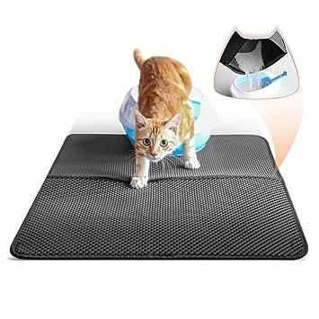 LOETAD Alfombrilla Arenero para Gato Grande, Doble Capa Favo Impermeable Plegable diseño, Super Tamaño