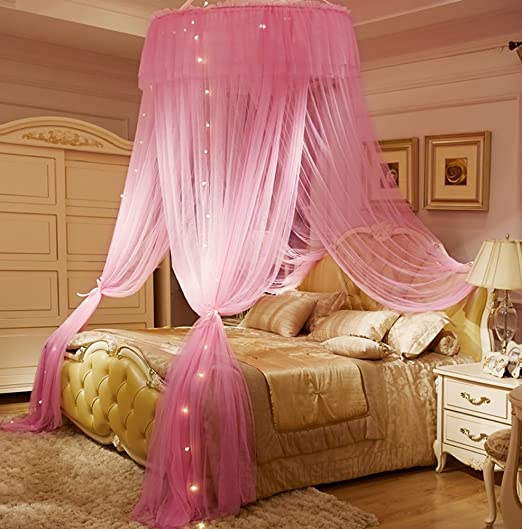 Amazon Com Mengersi Canopy Bed Curtain For Girls Adults Dome Bed Net For Twin Full Queen King Size Bed Quick Easy Installation Round Canopy Pink Kitchen Dining