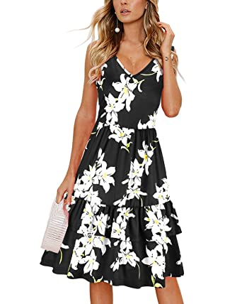 f588c325fea OUGES Women s Summer V Neck Floral Sleeveless Ruffle Swing Casual Short  Dress with Pockets(Floral01