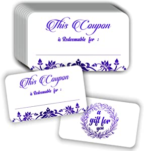 "Coupon Cards (Pack of 50) Premium Purple Foil Stamping 3.5""x2"" Blank Gift Certificates Redeem Vouchers for Business"