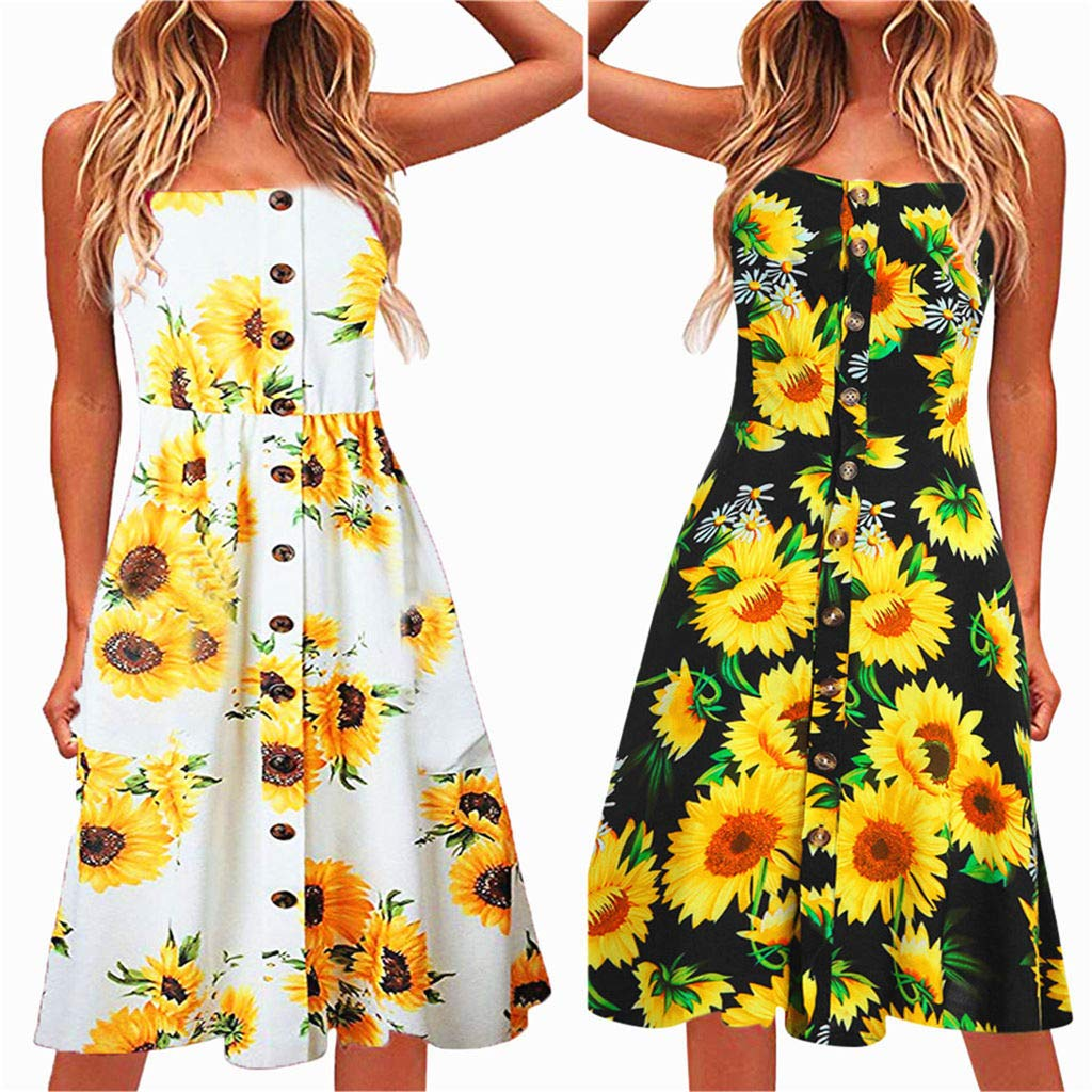 miqiqism 2019 Women Boho Midi Dresses Summer Bohemian Floral Print Spaghetti Strap Sundress Button up Swing Dress with Pockets (Black, S) by miqiqism (Image #2)