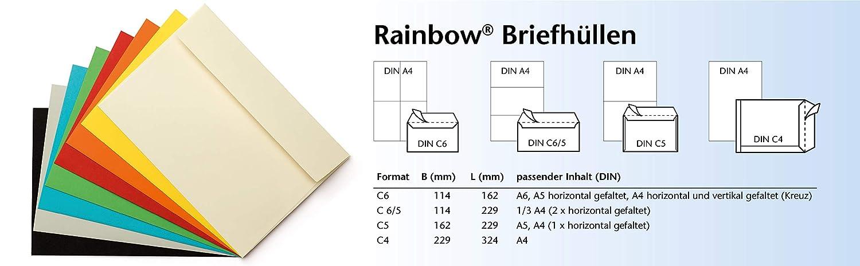 80 g formato C6//C5 Buste per lettere senza finestra confezione da 250 pezzi Papyrus 88191935 Rainbow con logo arcobaleno 114 x 229 chiusura adesiva
