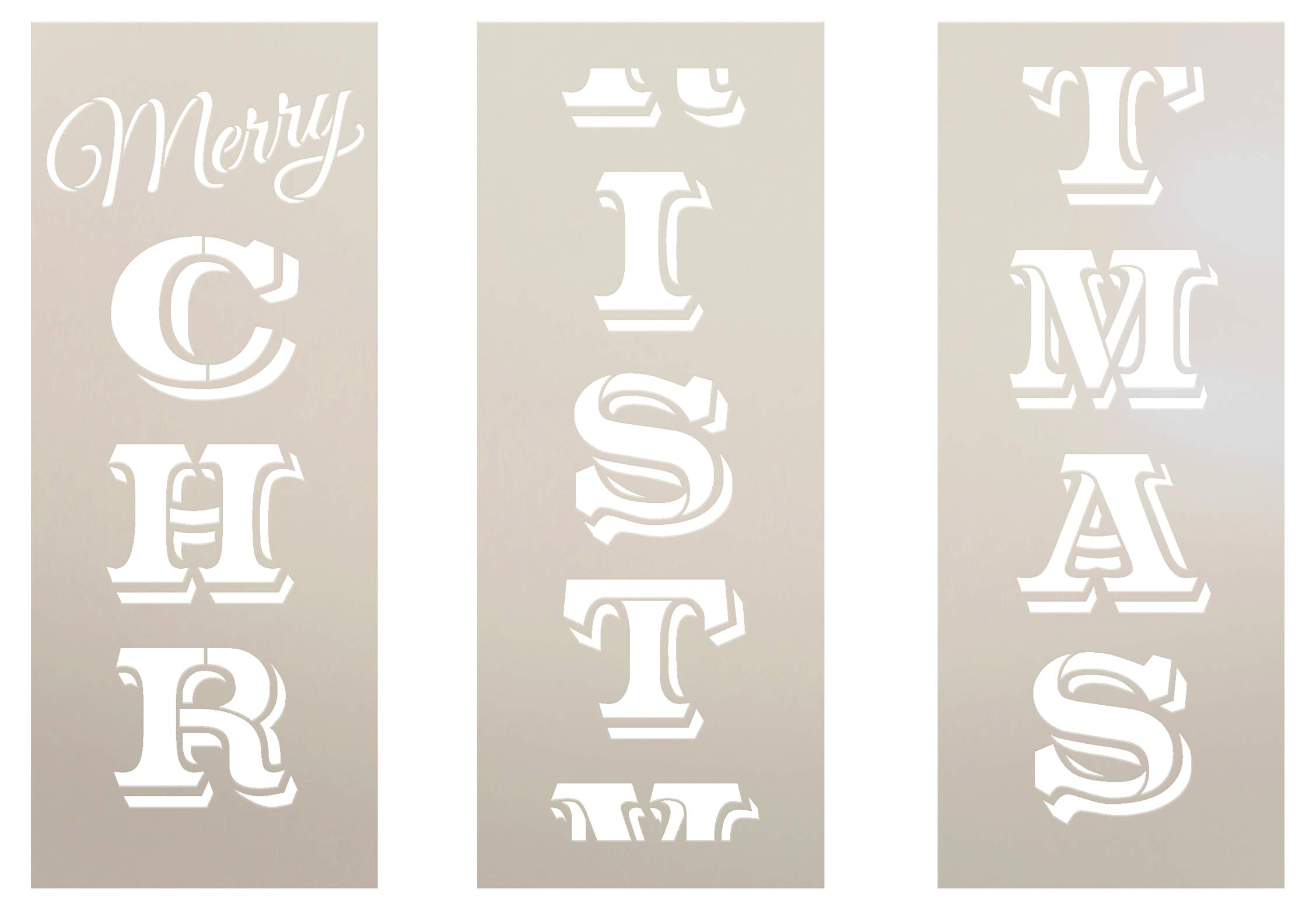 Merry Christmas Stencil by StudioR12 | Reusable 3 Part Mylar Template Paint Tall Vertical Wood Sign | Craft Seasonal Rustic Farmhouse Home Decor | DIY Extra Large Holiday Porch Leaner Gift (72'' x 12'') by STUDIOR12 STUDIO R12
