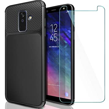 AROYI Funda Samsung Galaxy A6 Plus + Cristal Templado, Samsung Galaxy A6+ Carcasa & 1 Pack Protector de Pantalla Cristal Templado 9H Dureza + Soft TPU ...