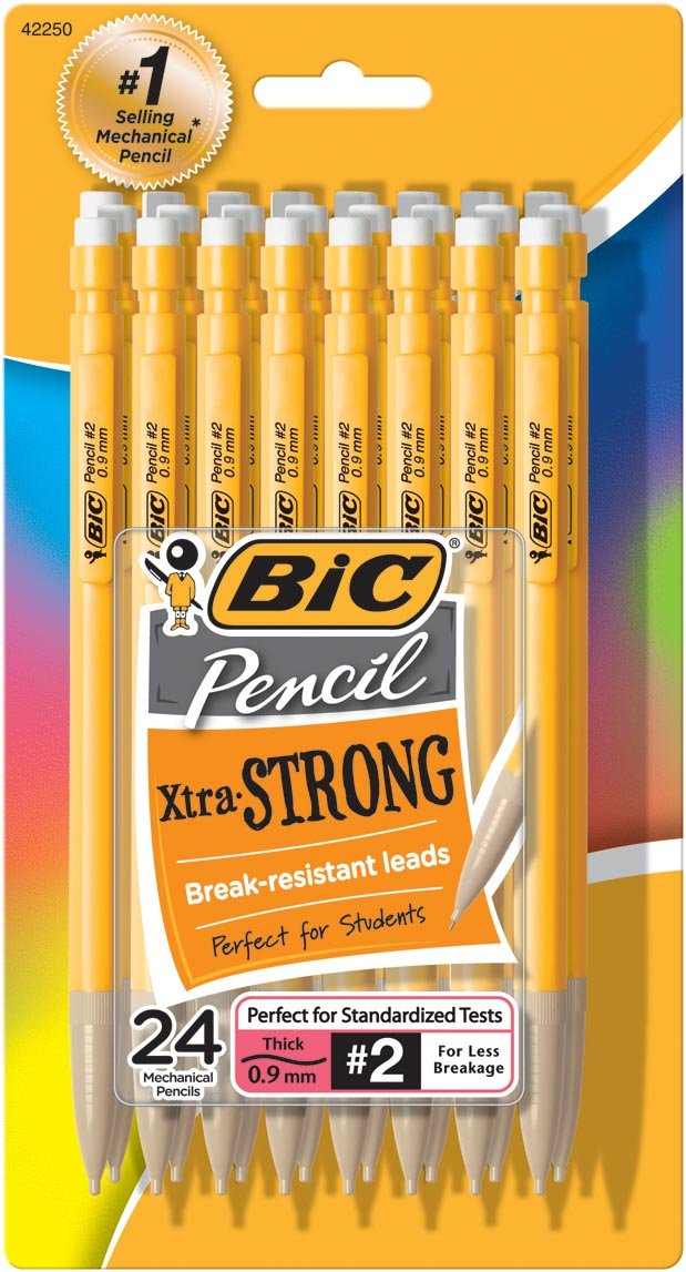 BIC Pencil Xtra Strong (Yellow Barrels), Thick Point (0.9 mm), 24-Count