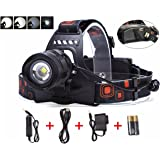 Lightess LED Headlamp Zoomable Head Light Rechargeable Torch Lights 5 Modes XM-L2 With USB Output Power Bank Function For Camping, Hunting, Hiking.