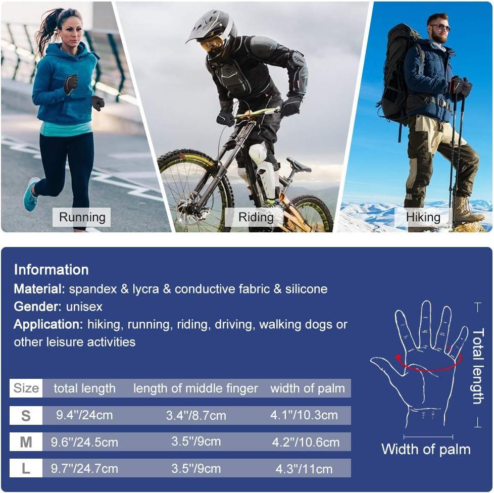 OKIDSO Guantes oto/ño Invierno Guantes Moto y Ciclismo para Hombre y Mujer Pantalla T/áctil Anti-Viento Antideslizante Negro