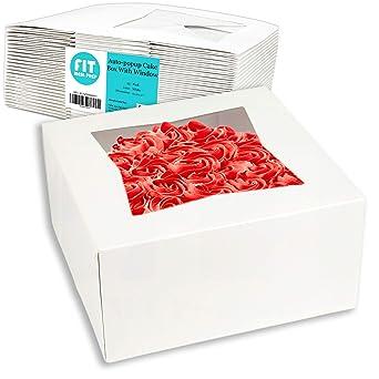 Amazon.com: Caja para tartas con ventana, cartón blanco ...