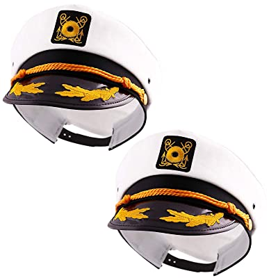 Captain's Yacht Sailors Hat Snapback Adjustable Sea Cap NAVY Costume Accessory (2 Pcs. Set): Beauty