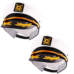 Captain's Yacht Sailors Hat Snapback Adjustable Sea Cap NAVY Costume Accessory (2 Pcs. Set)