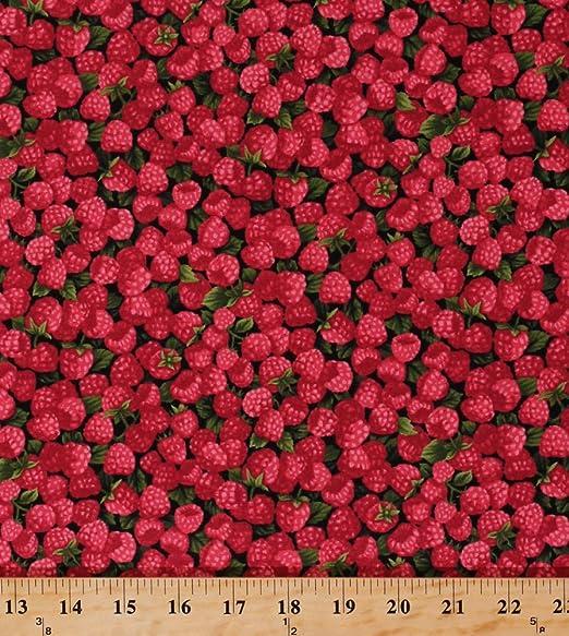 100/% Cotton Fabric Dark Red Raspberry with Light Red Raspberry Vines//Flowers