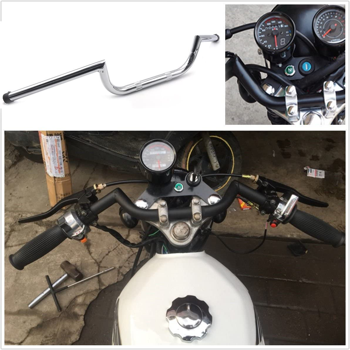 XKH B01M9913US Motorcycle 25mm 1 Black Dimpled Handlebar Compatible with 1982-2014 Harley Sportster XL 883 /& 1200 and Big Twin Models that accept 3 1//2 on center handlebars